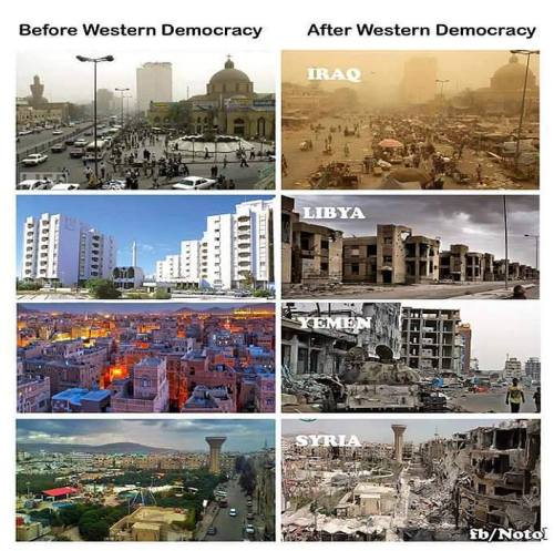 """εικόνα των Αράβικων χωρών πριν και μετά την προσπάθεια """"εκδημοκρατισμού"""" τους από την Δύση"""